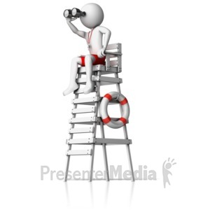 ID# 12834 - Lifeguard On Watch Tower - Presentation Clipart
