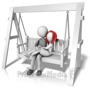 ID# 12844 - Couple On Swing Bench - Presentation Clipart