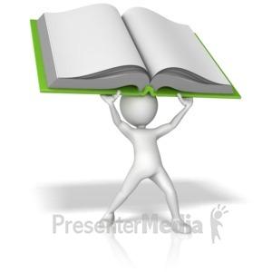 ID# 12849 - Stick Figure Holding Book Above His Head - Presentation Clipart