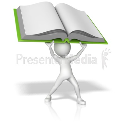 Stick Figure Holding Book Above His Head PowerPoint Clip Art