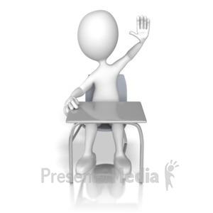 ID# 12874 - Student Raising Hand - Presentation Clipart
