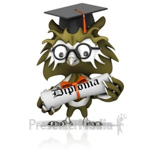 ID# 12895 - Graduation Owl Holding Diploma - Presentation Clipart