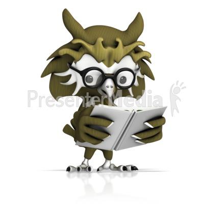 Owl Reading Book PowerPoint Clip Art