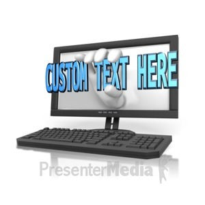 ID# 12923 - Hand Out Of Computer Custom Text - Presentation Clipart