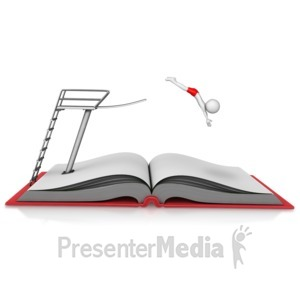 ID# 12933 - Diving Into a Book - Presentation Clipart
