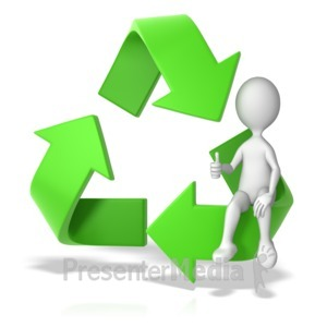 ID# 12995 - Recycle Symbol with a Stick Figure - Presentation Clipart