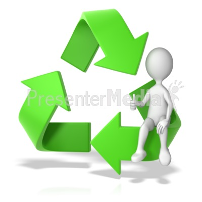 Recycle Symbol with a Stick Figure PowerPoint Clip Art
