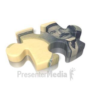 ID# 13000 - Yen Puzzle Piece - Presentation Clipart
