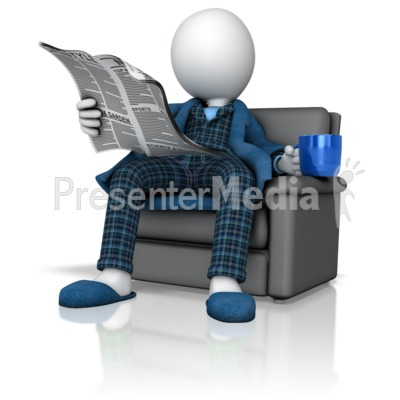 Figure Reading Newspaper in Pajamas  PowerPoint Clip Art