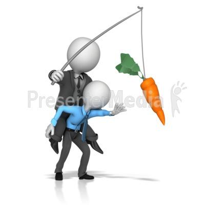Boss Dangling Carrot for a Employee PowerPoint Clip Art