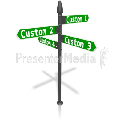 Custom Four Street Sign PowerPoint Clip Art