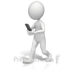 ID# 13127 - Texting And Walking - Presentation Clipart
