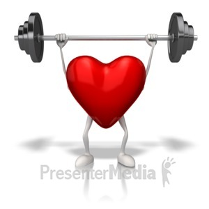 ID# 13182 - Exercising Weights Heart - Presentation Clipart