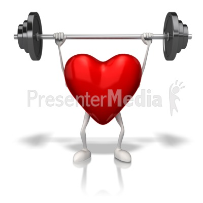 Exercising Weights Heart PowerPoint Clip Art
