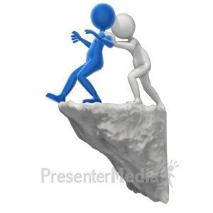 ID# 13192 - Pushing Someone To The Edge - Presentation Clipart