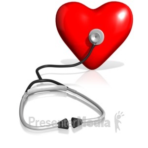 ID# 13197 - Stethoscope On Heart - Presentation Clipart