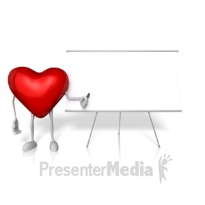ID# 13243 - Heart Presenting At The Board - Presentation Clipart