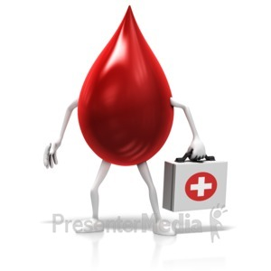 ID# 13255 - Blood Drop Holding Medical Kit - Presentation Clipart