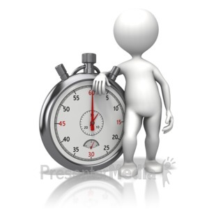 ID# 13325 - Stick Figure Leaning On Stopwatch - Presentation Clipart