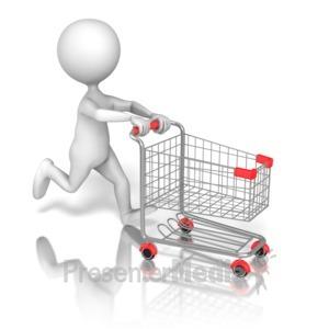 ID# 13332 - Stick Figure Running Shopping Cart - Presentation Clipart