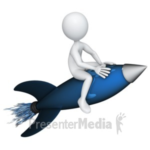 ID# 13359 - Figure Riding a Rocket - Presentation Clipart