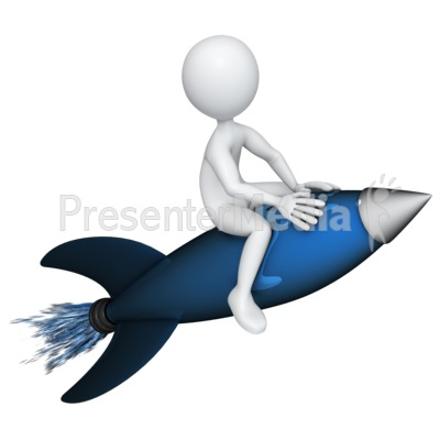 Figure Riding a Rocket PowerPoint Clip Art