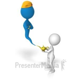 ID# 13361 - Stick Figure Summons Genie - Presentation Clipart