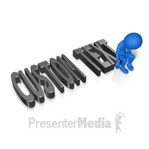 ID# 13365 - Depressed Figure On Text - Presentation Clipart