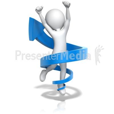 Figure Jump for Joy in Up Arrow PowerPoint Clip Art