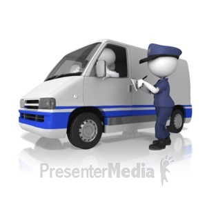 ID# 13385 - Cop Giving A Ticket - Presentation Clipart