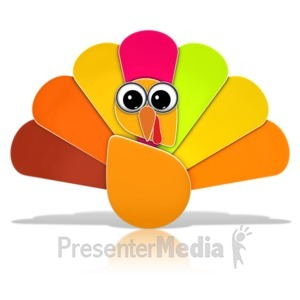 ID# 13398 - Thanksgiving Turkey Icon with Eyes - Presentation Clipart