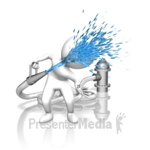 ID# 13441 - Drink From Fire Hose - Presentation Clipart