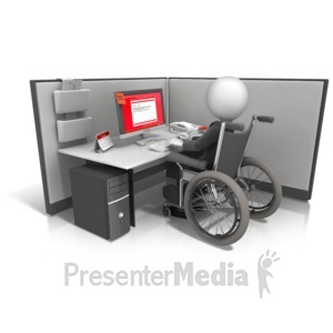 ID# 13448 - Figure Wheelchair Cubicle - Presentation Clipart