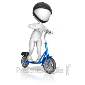 ID# 13479 - Figure Riding On Standup Scooter - Presentation Clipart