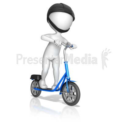 Figure Riding On Standup Scooter PowerPoint Clip Art