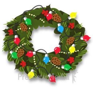 ID# 13527 - Christmas Wreath Decor - Presentation Clipart