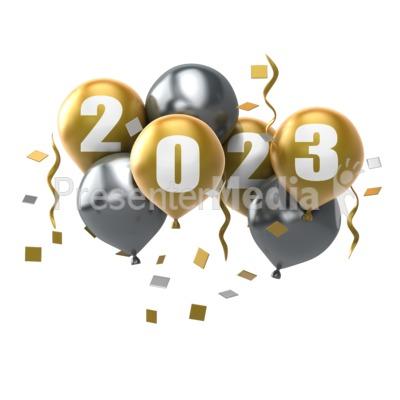 Custom Year Balloons PowerPoint Clip Art