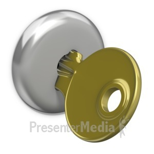 ID# 13595 - Gold Key In Lock - Presentation Clipart