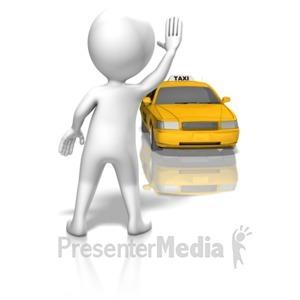 ID# 13613 - Figure Hailing Taxi - Presentation Clipart