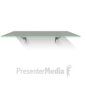 ID# 13631 - Single Glass Shelf Wall - Presentation Clipart