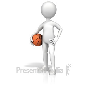 ID# 13632 - Figure Holding Basketball - Presentation Clipart