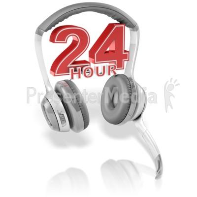 24 Hour Headset PowerPoint Clip Art