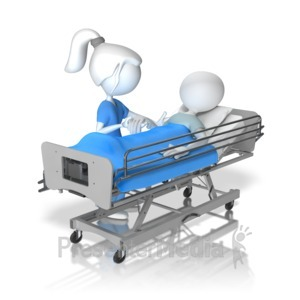 ID# 13646 - Helping Patient Figure In Hospital Bed - Presentation Clipart