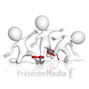 ID# 13648 - Four Legged Team Race Fail - Presentation Clipart