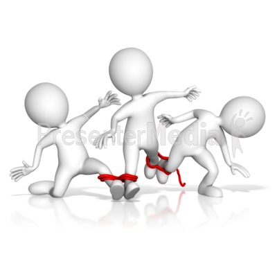 Four Legged Team Race Fail PowerPoint Clip Art