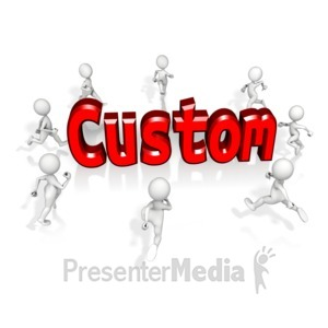 ID# 13661 - Mob Running To Custom Text - Presentation Clipart
