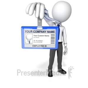 ID# 13666 - Figure Holding Out Id Badge - Presentation Clipart