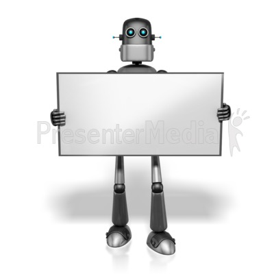 Retro Robot Holding Sign PowerPoint Clip Art