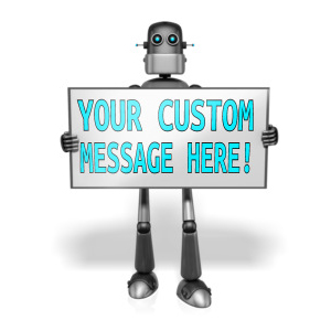 ID# 13668 - Retro Robot Custom Text Sign - Presentation Clipart