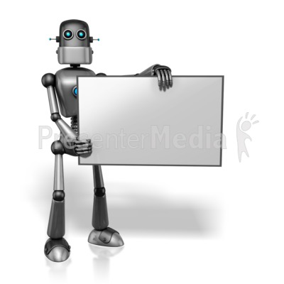Retro Robot Holding Sign Right PowerPoint Clip Art